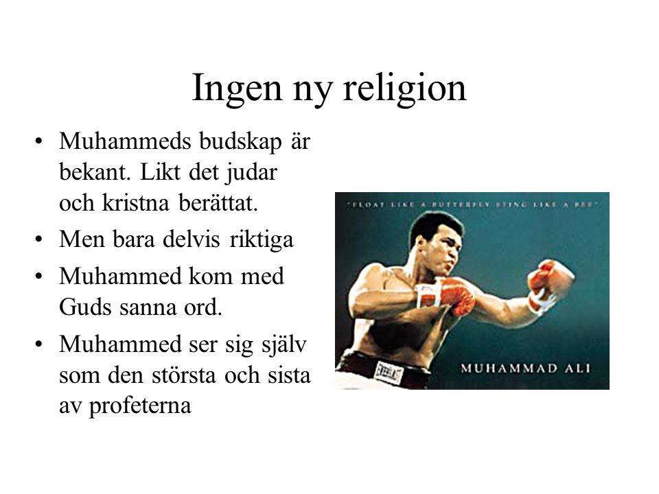 Ingen ny religion •Muhammeds budskap är bekant. Likt det judar och kristna berättat. •Men bara delvis riktiga •Muhammed kom med Guds sanna ord. •Muham