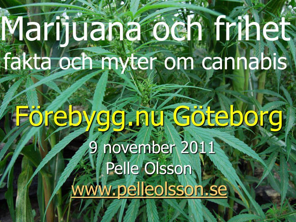 Marijuana och frihet fakta och myter om cannabis Förebygg.nu Göteborg 9 november 2011 9 november 2011 Pelle Olsson www.pelleolsson.se