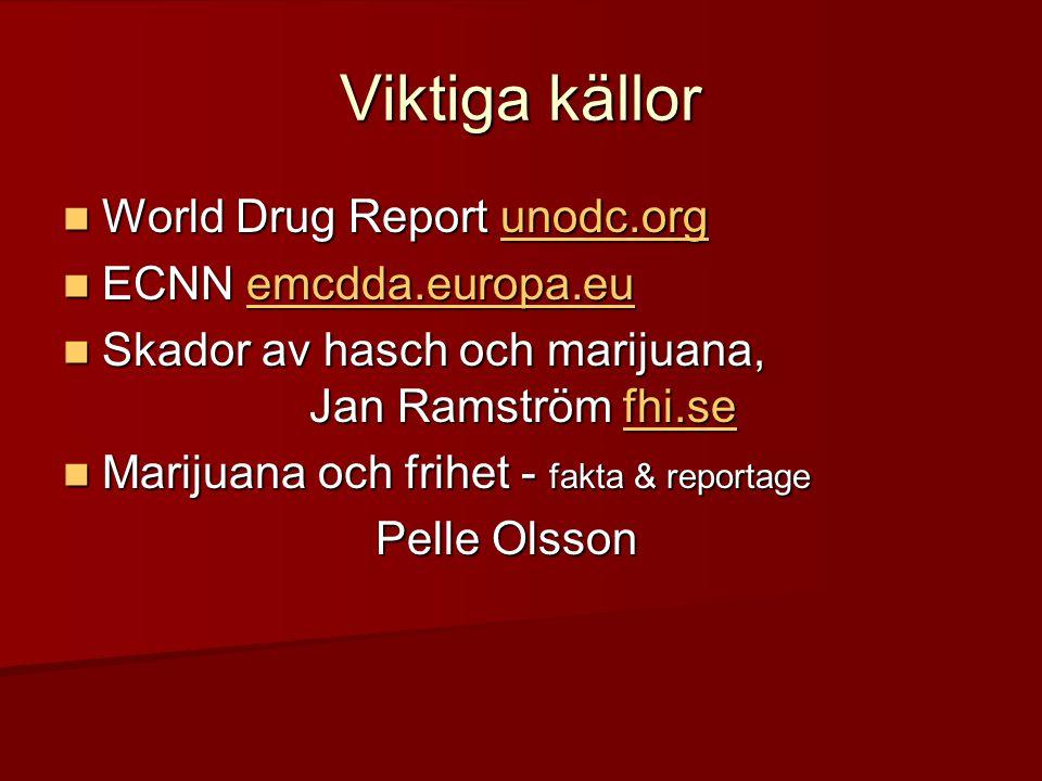 Viktiga källor  World Drug Report unodc.org unodc.org  ECNN emcdda.europa.eu emcdda.europa.eu  Skador av hasch och marijuana, Jan Ramström fhi.se f
