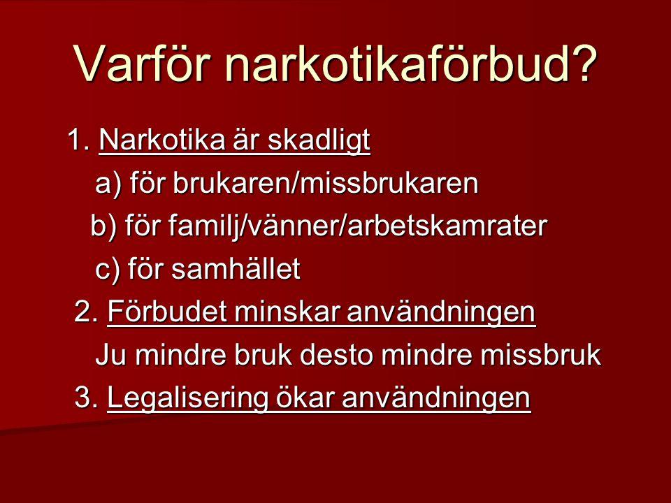 Varför narkotikaförbud? 1. Narkotika är skadligt a) för brukaren/missbrukaren b) för familj/vänner/arbetskamrater b) för familj/vänner/arbetskamrater