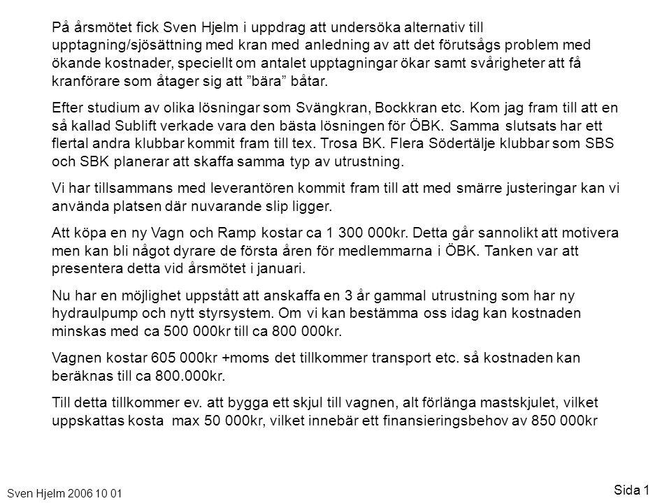 Sven Hjelm 2006 10 01 Sida 1 På årsmötet fick Sven Hjelm i uppdrag att undersöka alternativ till upptagning/sjösättning med kran med anledning av att det förutsågs problem med ökande kostnader, speciellt om antalet upptagningar ökar samt svårigheter att få kranförare som åtager sig att bära båtar.