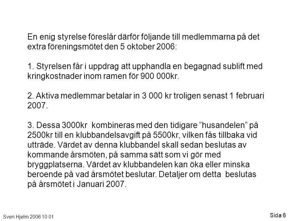 Sven Hjelm 2006 10 01 Sida 6 En enig styrelse föreslår därför följande till medlemmarna på det extra föreningsmötet den 5 oktober 2006: 1. Styrelsen f