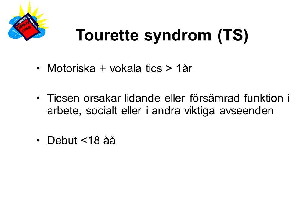 TS Motoriska tics: Ögonblinkningar, grimaser, vridningar på huvudet, ryckningar i axlar, armar, ben.