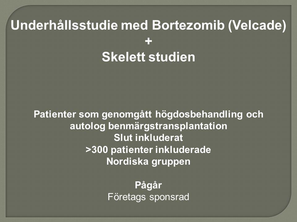 Underhållsstudie med Bortezomib (Velcade) + Skelett studien Patienter som genomgått högdosbehandling och autolog benmärgstransplantation Slut inkluder