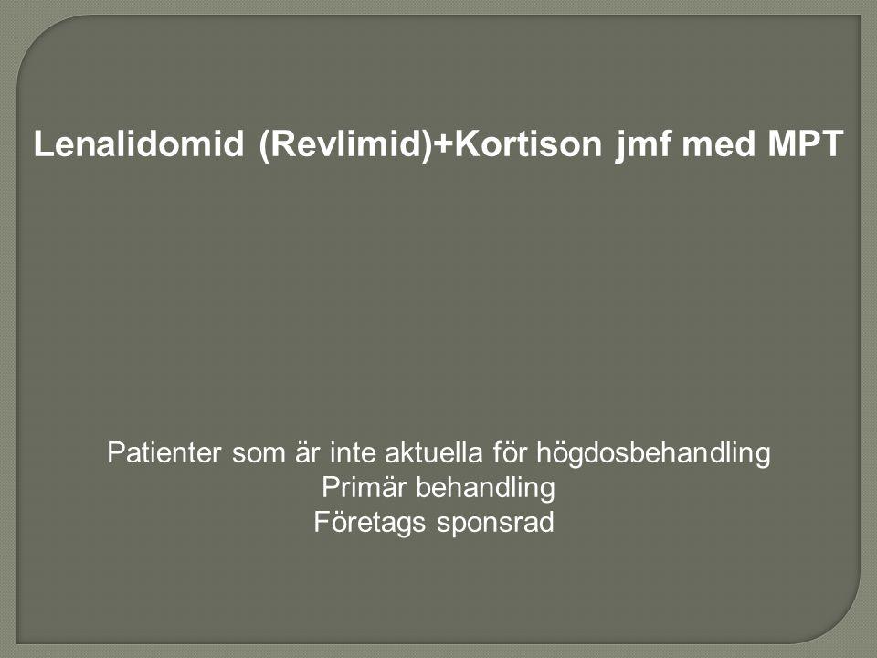 Lenalidomid (Revlimid)+Kortison jmf med MPT Patienter som är inte aktuella för högdosbehandling Primär behandling Företags sponsrad