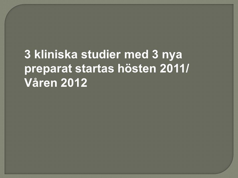 3 kliniska studier med 3 nya preparat startas hösten 2011/ Våren 2012