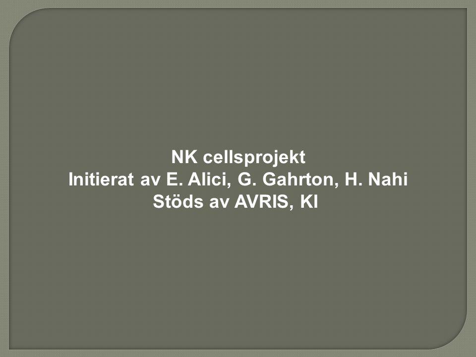 NK cellsprojekt Initierat av E. Alici, G. Gahrton, H. Nahi Stöds av AVRIS, KI