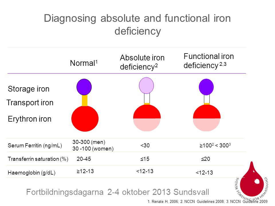 Fortbildningsdagarna 2-4 oktober 2013 Sundsvall Diagnosing absolute and functional iron deficiency Storage iron Transport iron Erythron iron Normal 1