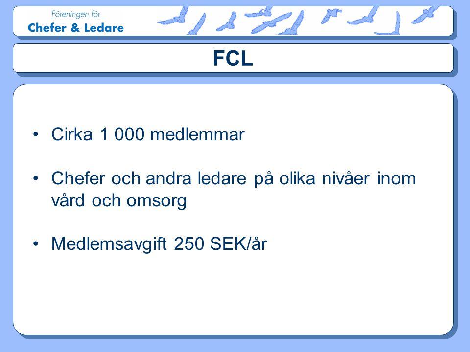 FCL •Cirka 1 000 medlemmar •Chefer och andra ledare på olika nivåer inom vård och omsorg •Medlemsavgift 250 SEK/år