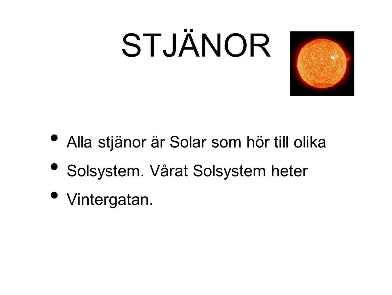 STJÄNOR • Alla stjänor är Solar som hör till olika • Solsystem. Vårat Solsystem heter • Vintergatan.