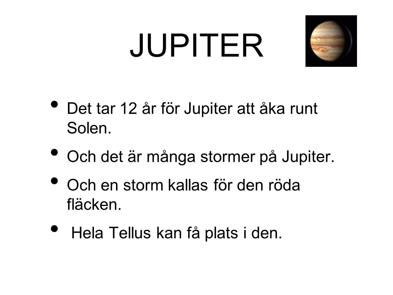JUPITER • Det tar 12 år för Jupiter att åka runt Solen. • Och det är många stormer på Jupiter. • Och en storm kallas för den röda fläcken. • Hela Tell