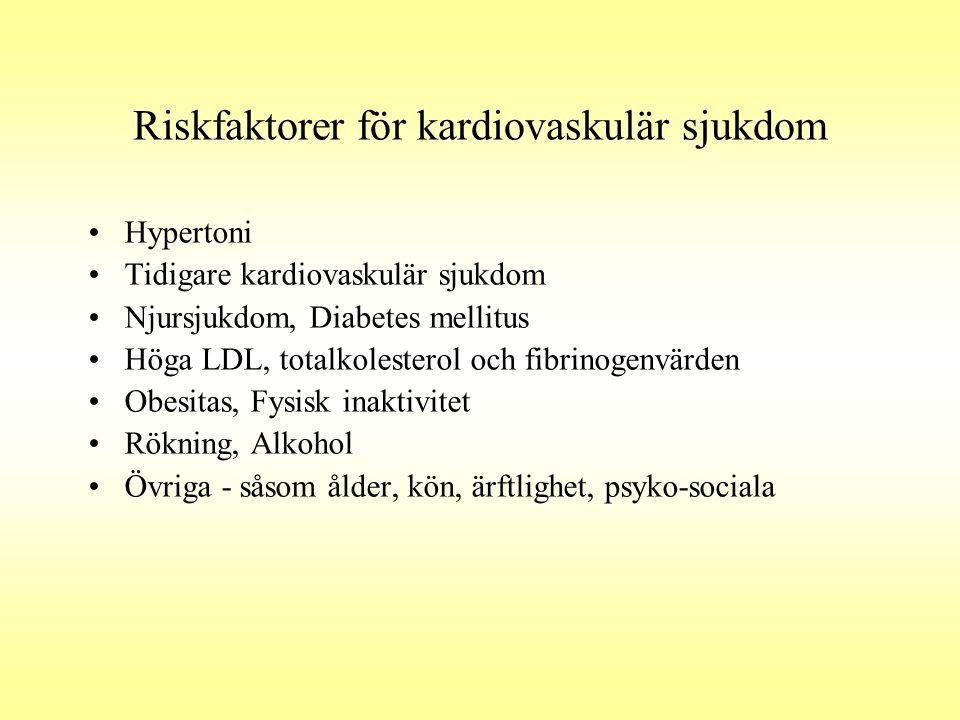 Riskfaktorer för kardiovaskulär sjukdom •Hypertoni •Tidigare kardiovaskulär sjukdom •Njursjukdom, Diabetes mellitus •Höga LDL, totalkolesterol och fib