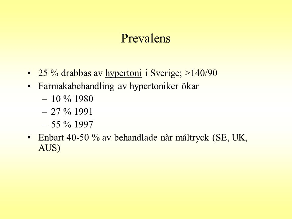 Prevalens •2-3 % drabbas av symtomgivande hjärtsvikt i Sverige •Lika många utan symtom •NYHA I-IV •Prognosen vid hjärtsvikt motsvarar ett genomsnitt för cancersjukdomar •50% 6-årig överlevnad