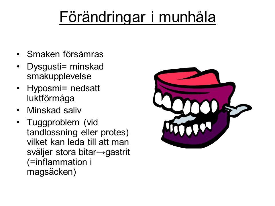 Förändringar i munhåla •Smaken försämras •Dysgusti= minskad smakupplevelse •Hyposmi= nedsatt luktförmåga •Minskad saliv •Tuggproblem (vid tandlossning eller protes) vilket kan leda till att man sväljer stora bitar→gastrit (=inflammation i magsäcken)