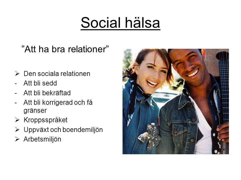 Social hälsa Att ha bra relationer  Den sociala relationen -Att bli sedd -Att bli bekräftad -Att bli korrigerad och få gränser  Kroppsspråket  Uppväxt och boendemiljön  Arbetsmiljön