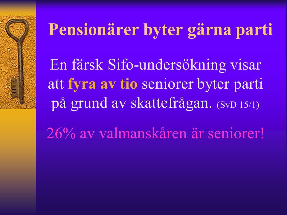 Pensionärer byter gärna parti En färsk Sifo-undersökning visar att fyra av tio seniorer byter parti på grund av skattefrågan.