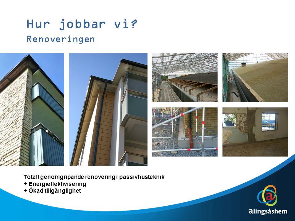 Hur jobbar vi? Renoveringen Totalt genomgripande renovering i passivhusteknik + Energieffektivisering + Ökad tillgänglighet