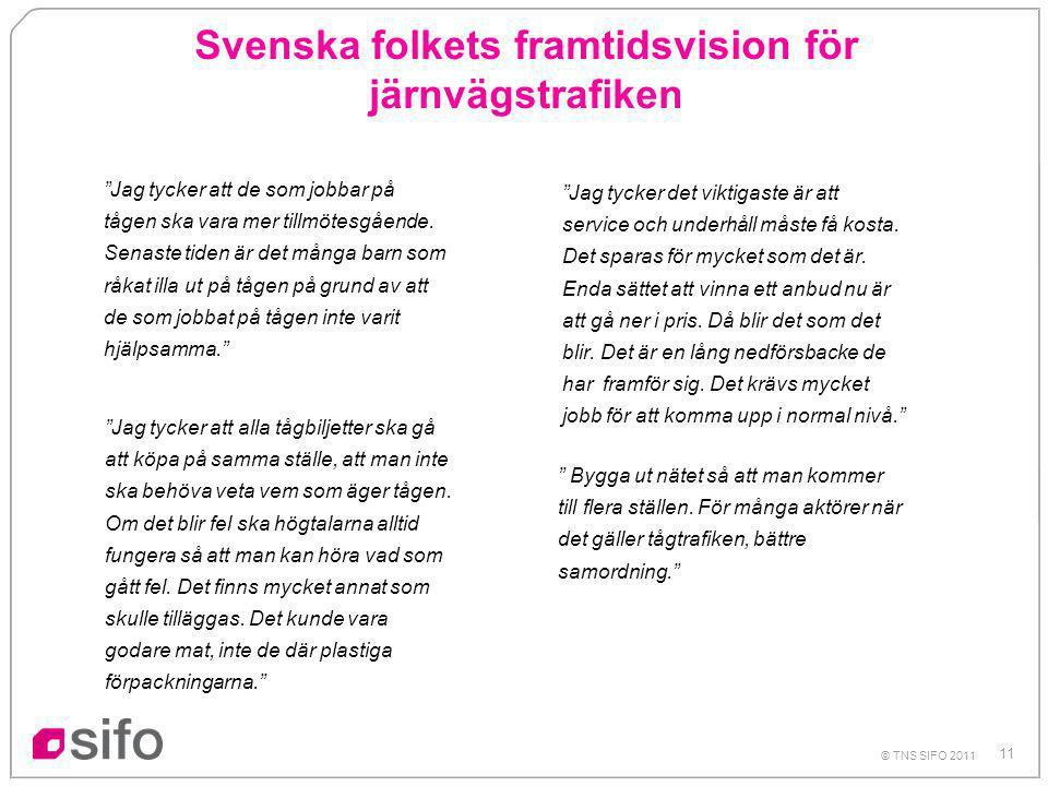 11 © TNS SIFO 2011 Svenska folkets framtidsvision för järnvägstrafiken Jag tycker att de som jobbar på tågen ska vara mer tillmötesgående.