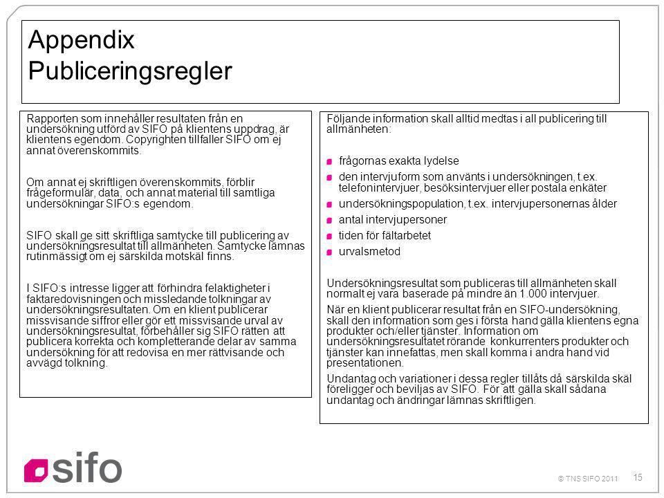 15 © TNS SIFO 2011 Rapporten som innehåller resultaten från en undersökning utförd av SIFO på klientens uppdrag, är klientens egendom.