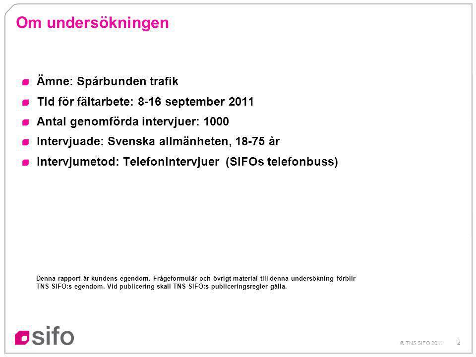 2 © TNS SIFO 2011 Om undersökningen Ämne: Spårbunden trafik Tid för fältarbete: 8-16 september 2011 Antal genomförda intervjuer: 1000 Intervjuade: Svenska allmänheten, 18-75 år Intervjumetod: Telefonintervjuer (SIFOs telefonbuss) Denna rapport är kundens egendom.