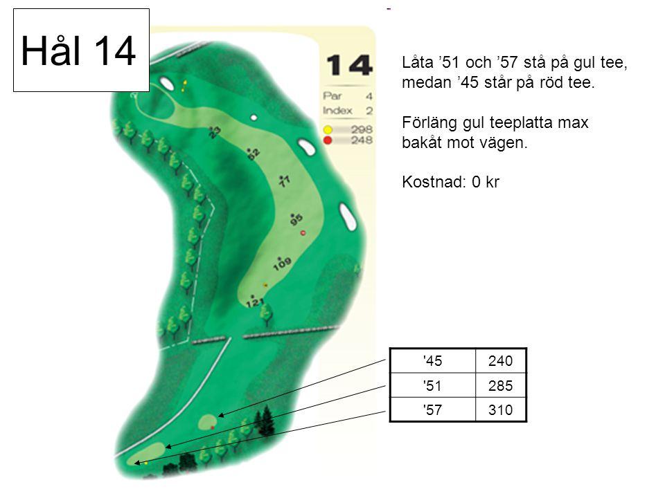 45240 51285 57310 Låta '51 och '57 stå på gul tee, medan '45 står på röd tee.