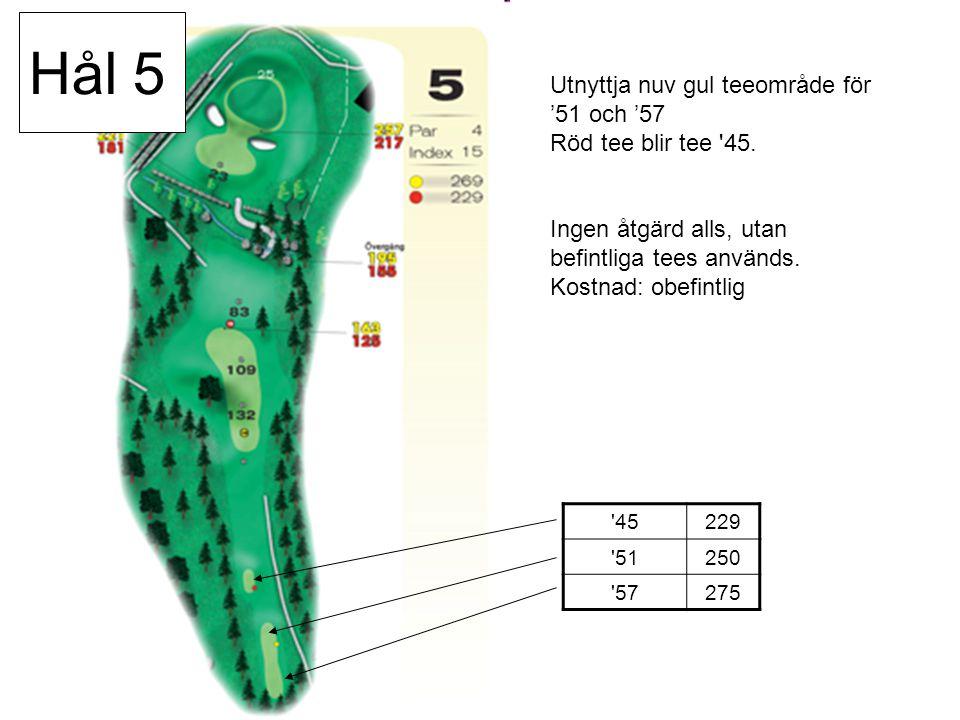 45229 51250 57275 Utnyttja nuv gul teeområde för '51 och '57 Röd tee blir tee 45.