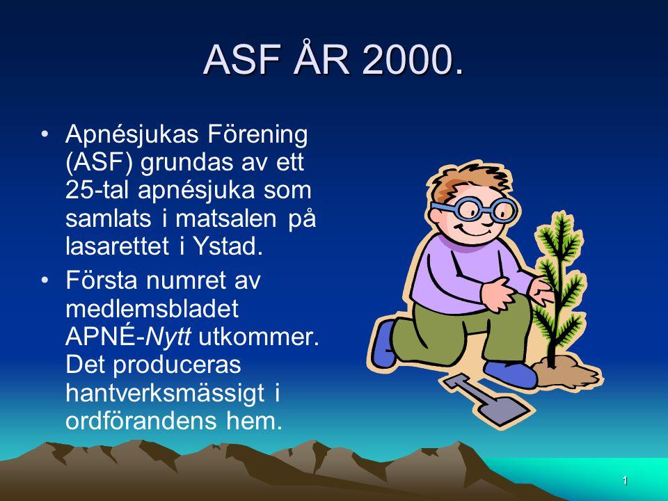 ASF ÅR 2000. •Apnésjukas Förening (ASF) grundas av ett 25-tal apnésjuka som samlats i matsalen på lasarettet i Ystad. •Första numret av medlemsbladet