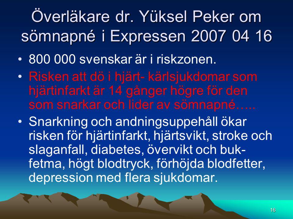 Överläkare dr. Yüksel Peker om sömnapné i Expressen 2007 04 16 •800 000 svenskar är i riskzonen. •Risken att dö i hjärt- kärlsjukdomar som hjärtinfark