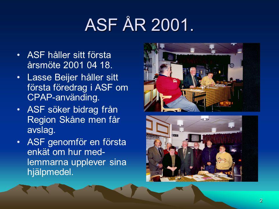 ASF ÅR 2001. •ASF håller sitt första årsmöte 2001 04 18. •Lasse Beijer håller sitt första föredrag i ASF om CPAP-använding. •ASF söker bidrag från Reg