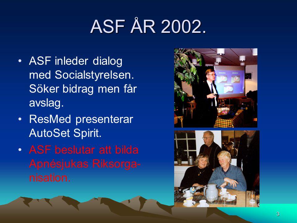 ASF ÅR 2002. •ASF inleder dialog med Socialstyrelsen. Söker bidrag men får avslag. •ResMed presenterar AutoSet Spirit. •ASF beslutar att bilda Apnésju