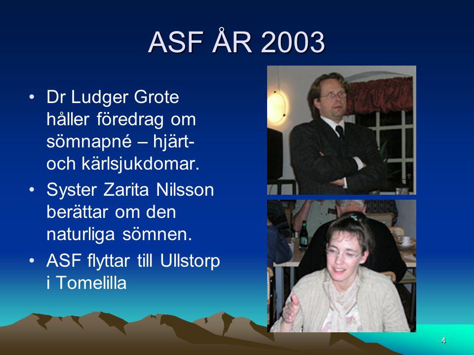 ASF ÅR 2003 •Dr Ludger Grote håller föredrag om sömnapné – hjärt- och kärlsjukdomar. •Syster Zarita Nilsson berättar om den naturliga sömnen. •ASF fly