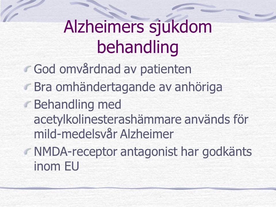 Alzheimers sjukdom behandling God omvårdnad av patienten Bra omhändertagande av anhöriga Behandling med acetylkolinesterashämmare används för mild-med