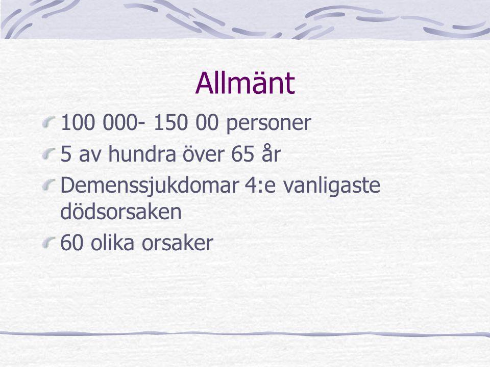 Allmänt 100 000- 150 00 personer 5 av hundra över 65 år Demenssjukdomar 4:e vanligaste dödsorsaken 60 olika orsaker