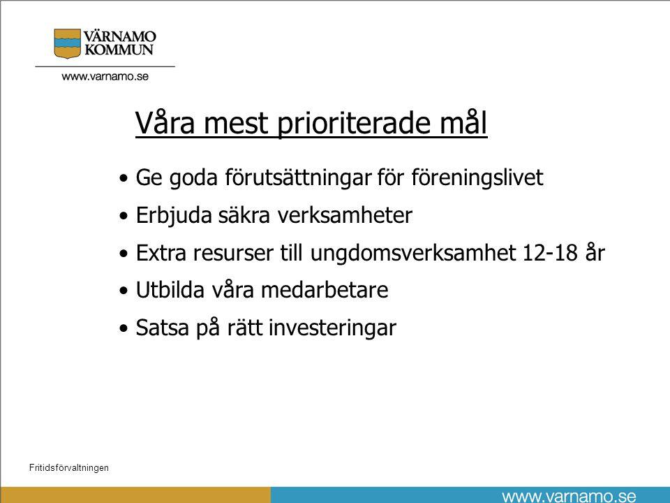 Fritidsförvaltningen Önskade ram förändringar år 2010 • Ökad kapitalkostnad V:mo sim/sporthall (1900 tkr)
