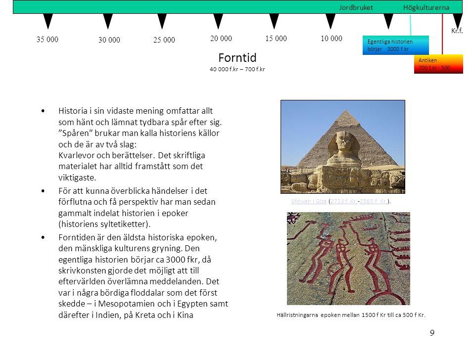 35 000 30 00025 000 20 00015 00010 0005 000 Kr.f. JordbruketHögkulturerna Forntid 40 000 f.kr – 700 f.kr •Historia i sin vidaste mening omfattar allt