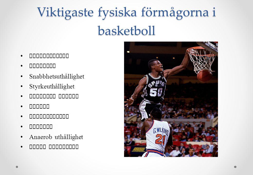 Viktigaste fysiska förmågorna i basketboll •Koordination •Snabbhet •Snabbhetsuthållighet •Styrkeuthållighet •Explosiv styrka •Balans •Flexibilitet •Ag