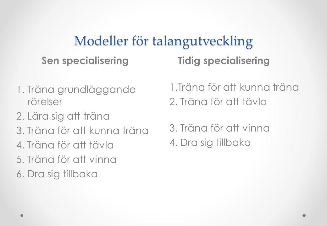Modeller för talangutveckling Tidig specialisering 1.Träna för att kunna träna 2. Träna för att tävla 3. Träna för att vinna 4. Dra sig tillbaka Sen s