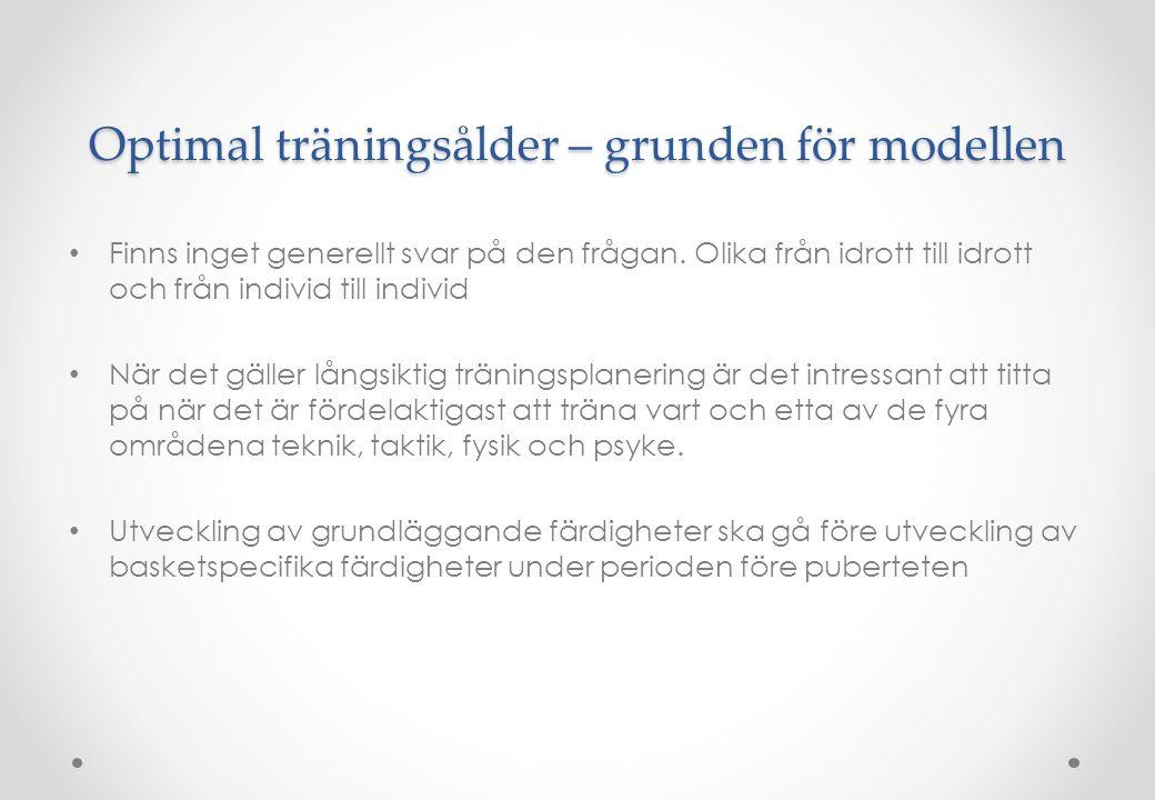 Optimal träningsålder – grunden för modellen • Finns inget generellt svar på den frågan. Olika från idrott till idrott och från individ till individ •