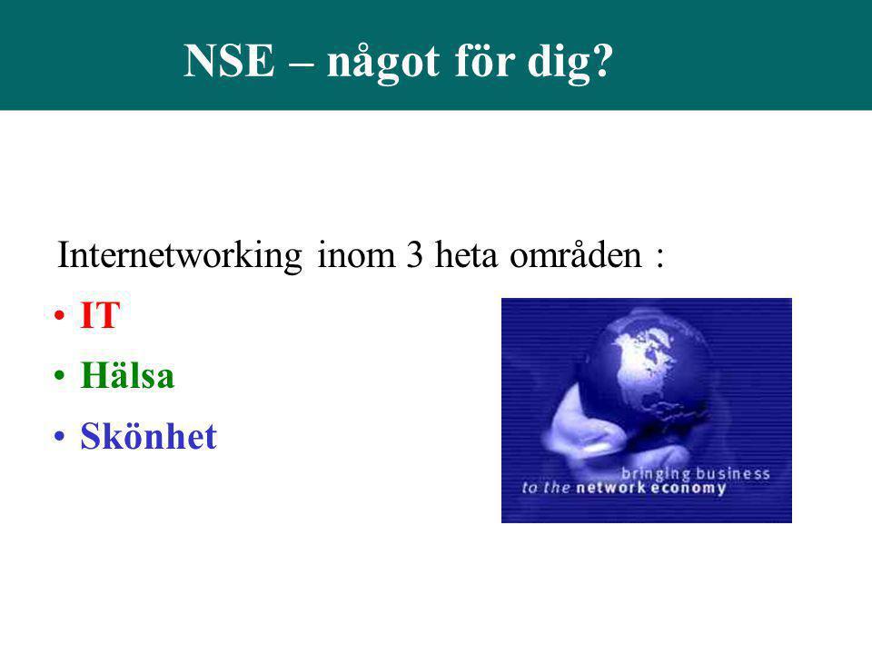 NSE – något för dig? Internetworking inom 3 heta områden : •IT •Hälsa •Skönhet