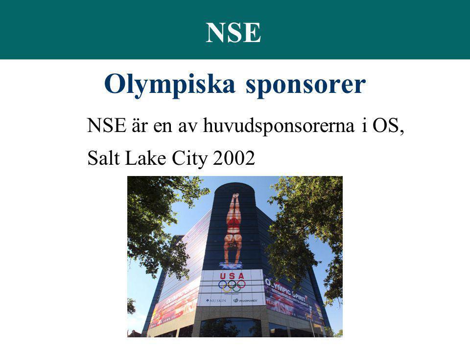 NSE Olympiska sponsorer NSE är en av huvudsponsorerna i OS, Salt Lake City 2002
