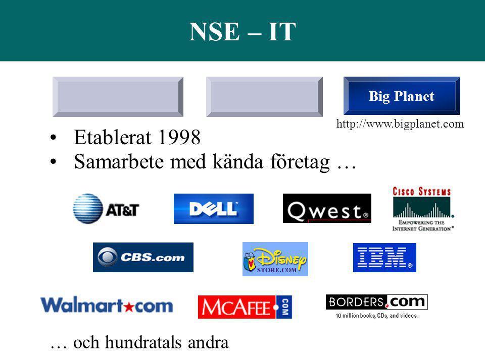NSE – IT Big Planet •Etablerat 1998 •Samarbete med kända företag … … och hundratals andra http://www.bigplanet.com