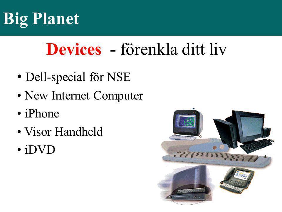 Big Planet Devices - förenkla ditt liv • Dell-special för NSE • New Internet Computer • iPhone • Visor Handheld • iDVD