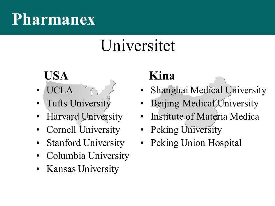 USA Kina Universitet •Shanghai Medical University •Beijing Medical University •Institute of Materia Medica •Peking University •Peking Union Hospital •