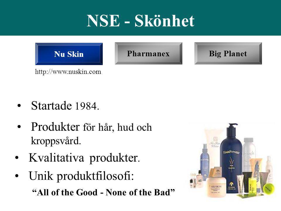 """•Startade 1984. PharmanexBig Planet NSE - Skönhet Nu Skin •Produkter för hår, hud och kroppsvård. •Unik produktfilosofi: """"All of the Good - None of th"""