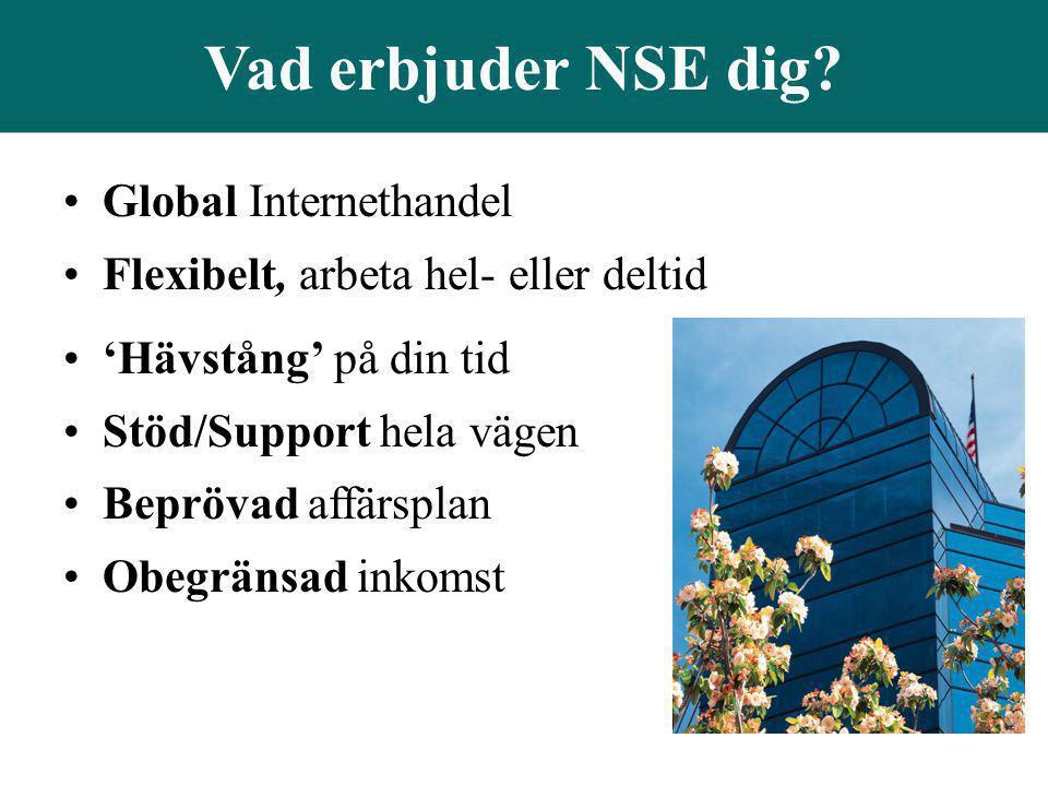 Vad erbjuder NSE dig? •Global Internethandel •Flexibelt, arbeta hel- eller deltid •'Hävstång' på din tid •Stöd/Support hela vägen •Beprövad affärsplan