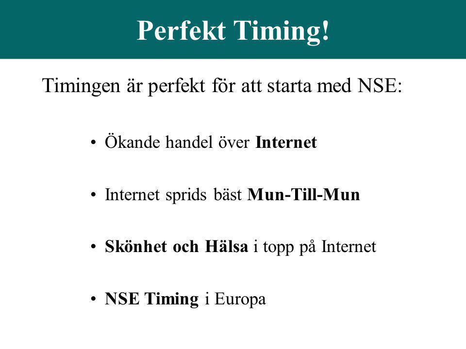 Perfekt Timing! Timingen är perfekt för att starta med NSE: •Ökande handel över Internet •Internet sprids bäst Mun-Till-Mun •Skönhet och Hälsa i topp