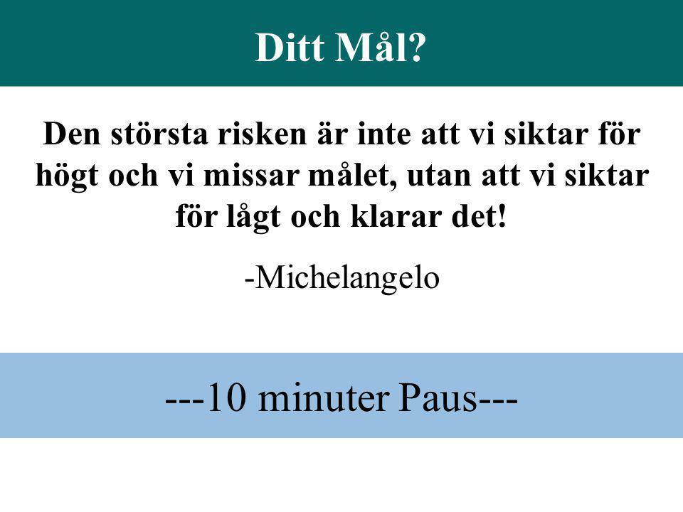 ---10 minuter Paus--- Den största risken är inte att vi siktar för högt och vi missar målet, utan att vi siktar för lågt och klarar det! -Michelangelo