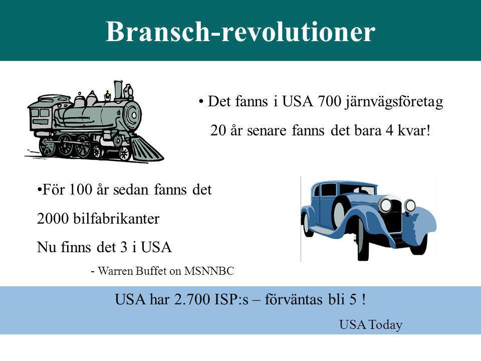 • Det fanns i USA 700 järnvägsföretag 20 år senare fanns det bara 4 kvar! Bransch-revolutioner •För 100 år sedan fanns det 2000 bilfabrikanter Nu finn