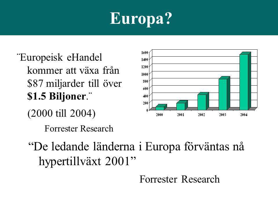 """Europa? """"De ledande länderna i Europa förväntas nå hypertillväxt 2001"""" Forrester Research ¨Europeisk eHandel kommer att växa från $87 miljarder till ö"""