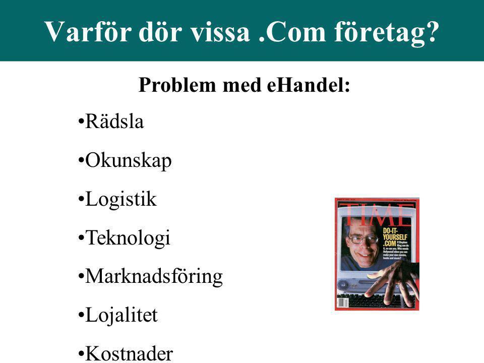 Problem med eHandel: •Rädsla •Okunskap •Logistik •Teknologi •Marknadsföring •Lojalitet •Kostnader Varför dör vissa.Com företag?